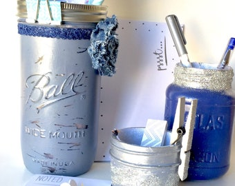 Blue Mason Jar Desk Set Denim Blue Desk Accessories For Women  Mason Jar  Gifts