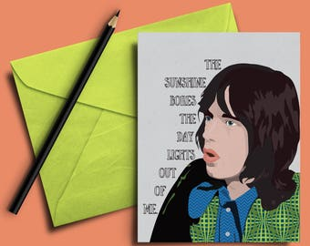 Mick Jagger the Rolling Stones Illustrated Funny Birthday Thank You Greeting Card