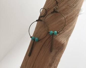 Bronze earrings - green freshwater pearls - pendant-