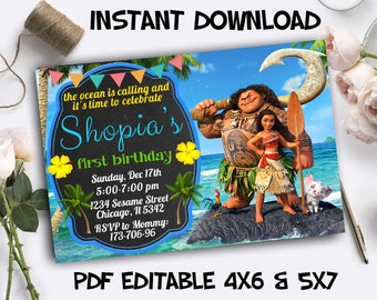 Moana Invitation Instant Download, Moana Instant Download, Moana PDF Editable Template, Moana Editable Instant Download, Moana Editable