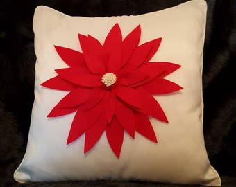Designer, 3D Luxury Handmade Red Petal, Cream Faux Silk Decorative Cushion Cover