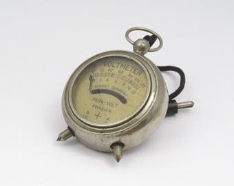 Vintage Voltmeter, Electrical, Industrial, Steampunk, Upcycle, Dieselpunk, Pocket, Gadget, Mechanical