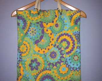 Vintage Psychedelic Kaleidoscope 1960s Shopping Reusable Bag Handbag One of a Kind Unique Spirals Swirls Mandalas Flower Child Flower Power