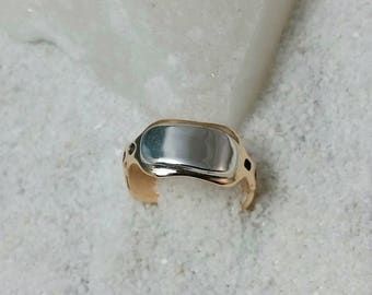 wave shaped Bronze and silver ring