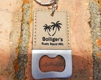 Personalized Engraved Leather Bottle Opener Keychain, Keyring, Key FOB, Key Holder, Key Clip