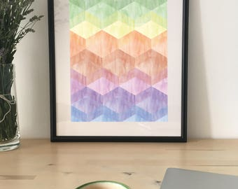 Rainbow Poster Download, Rainbow Colours, Printable Art, Self Print, Wall Decor, Abstract Rainbow Art