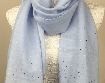 Metallic Dot Print Scarf - Light Blue