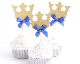 12 piece Little Prince Crown Cupcake Toppers with Blue Ribbon <  Theme Party Supplies Kids Boy Birthday Decorations >