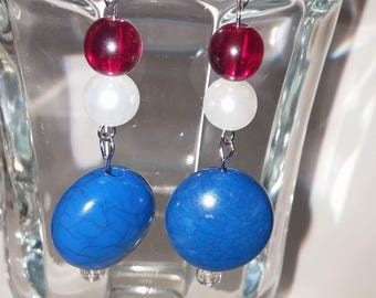 Independences Day, patriotic red, white and blue bracelet and earring set