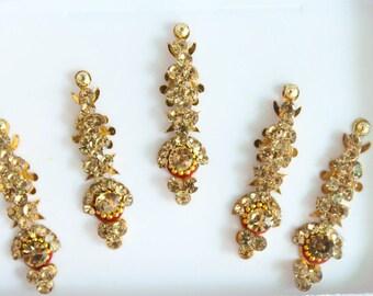 Gold Antique/Silver Long Bindis,Bridal Long Bindis Sticker,Stone Bindi,Gold Bindis Face Jewels Bindis ,Antique Bindis,Body Glittery Bindi
