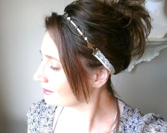 Wedding headband with antique lace ivory romantic and glass pearls