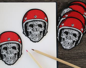 Skull head with helmet iron on patch, embroidered patch, punk patch, red helmet, iron on jacket, hat, bags, DIY