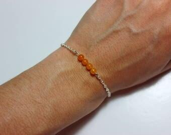 Dainty Orange Beaded Bracelet with Silver Chain