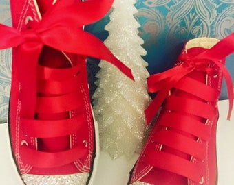 Red high crystal converse