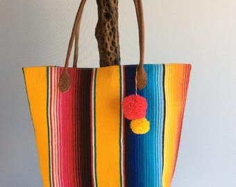 Mexican blanket bag with leather handles