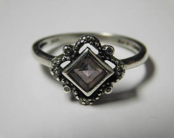 Vintage RJ Sterling Silver Ring With Amethyst & Clear Accent Stones