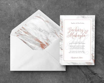 Modern Floral / Rose Gold Marble Printable Wedding Invitation Package (White)