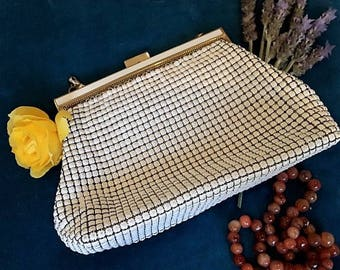 Vintage White/Ivory Glomesh Clutch | Purse | Bag with Original Mirror