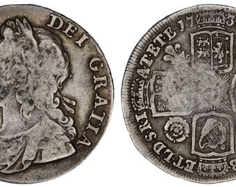 George II shilling 1734 Great Britain silver coin