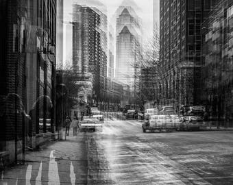 urban landscape 2 - photography, Montreal after the rain, black and white, multi-exposure