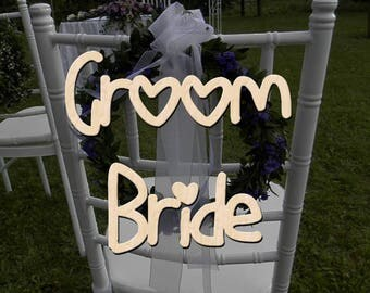 Chair Sign Groom and Bride, Wooden Chair Signs, Wood Wedding Decor, Wedding Signs, Wedding Chair Decor