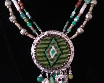 Green Aztec Pendant Necklace