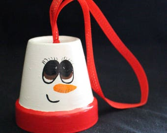 Clay Pot Snowman Bell Ornements
