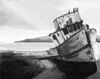 Black and White Boat Study