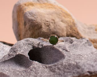 Round Amazonite or Jade Gold-Filled Ring