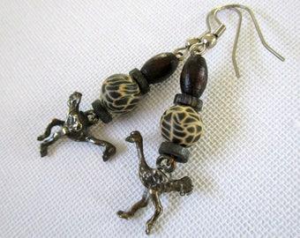 Vintage bird earrings, ostrich earrings, beaded bird earrings