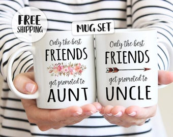 Only the best friends get promoted to aunt, get promoted to uncle, mug set, Best friend mug, Gift for bestfriend, pregnancy announcement