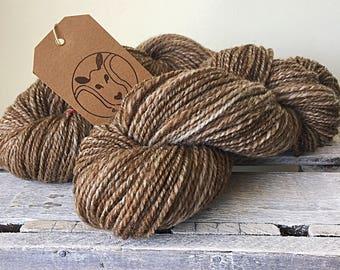 hand spun sock yarn, handspun wool, handspun shetland humbug wool
