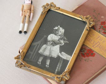 Antique Photograph girl with teddy bear - gold frame - photo - 1900s child - vintage victorian