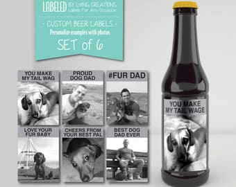 dog dad labels - gift for dog dad - labels for dad - birthday gift - beer label - gift for dad - waterproof labels - personalized labels
