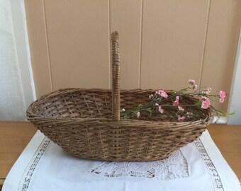 Vintage Large Oval Wicker and Twig Basket, single handle
