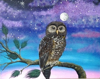 Mexican Spotted Owl by Moonlight