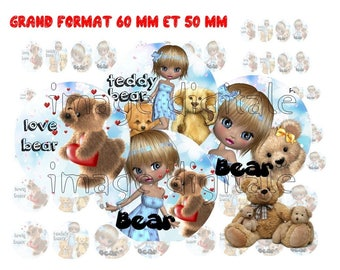digital images 50 mm and 60mm for mirrors or other print miss Teddy bear