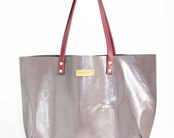 SHINY LEATHER TOTE with long straps, summer patent leather tote.