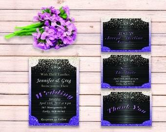 Ultra Violet Wedding Invitation Suite - Shimmer Wedding Invitation - Wedding Invitation Template - PDF Design - Editable Wedding Template