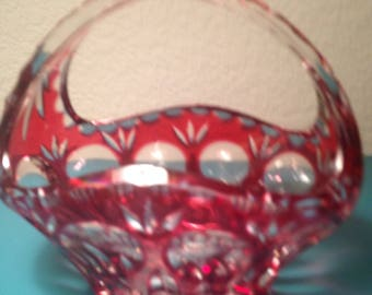 Bamburg cranberry cut to clear crystal basket