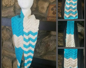 Chevron Striped Infinity Scarf, Turquoise and Cream