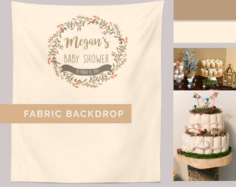 Baby Shower Backdrop Woodland, Fall Cake Table Backdrop, Woodland Party Decorations, Custom Fabric Banner, Gender Neutral Shower Photo Booth