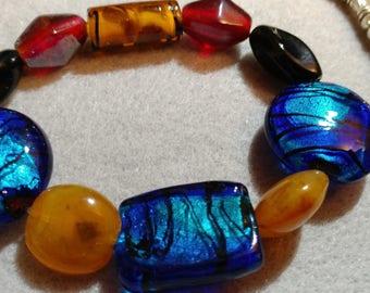 Lampwork Glass and Vintage Glass Bead Bracelet