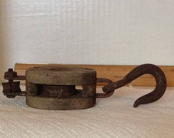 Vintage Industrial Block and Tackle Pulley