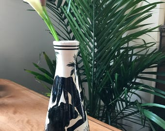 Bohemian Vintage Hand Made Vase | Cyprus Kerameus | Bathing Woman | Black and White