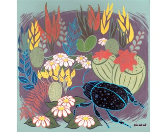 Floral Beetle Print
