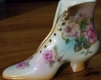 Beautiful Hand Painted Ceramic Roses Shoe Slipper