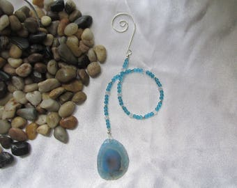 Blue Agate Sun Catcher With Crystals