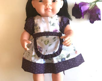 Miniland Doll Dress Set - Gabrielle - Purple Pansy