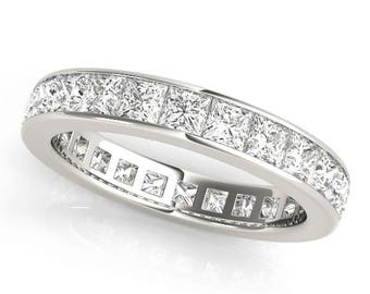 Channel Set Eternity Band with Princess Cut F G Color VS2 SI1 Clarity Diamonds .86 ct